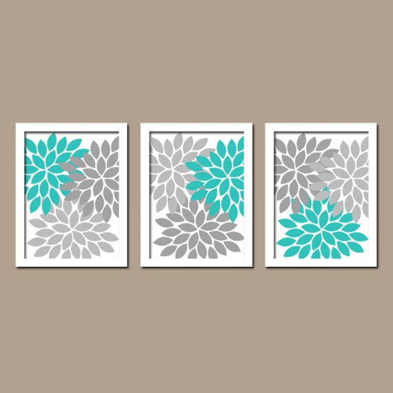 Turquoise gray wall art bedroom pictures canvas or for Turquoise and grey bathroom accessories