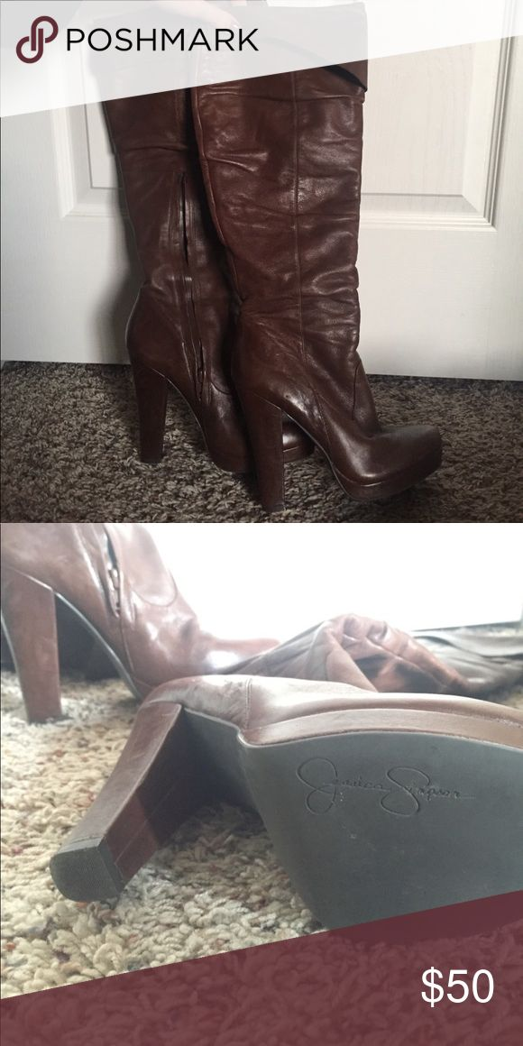 Jessica Simpson Brown Heeled Boots All leather, 4.5 inch heel, brown, Jessica Simpson, great condition, side zipper, fold over top. Jessica Simpson Shoes Heeled Boots