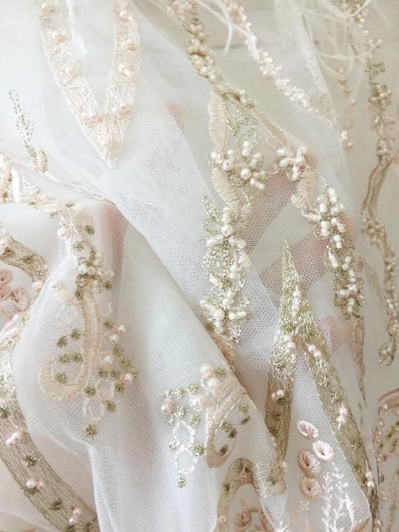 82b2de7968ed8 3D Pearl Beaded Haute Couture Flower Lace Fabric , Quality Ostrich ...