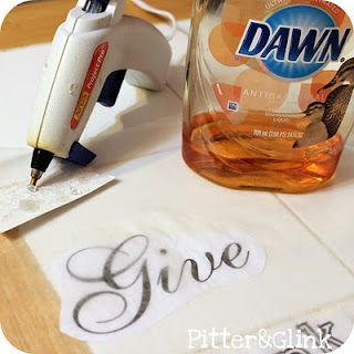 how to create raised lettering using hot glue & dawn dish soap on wax paper!