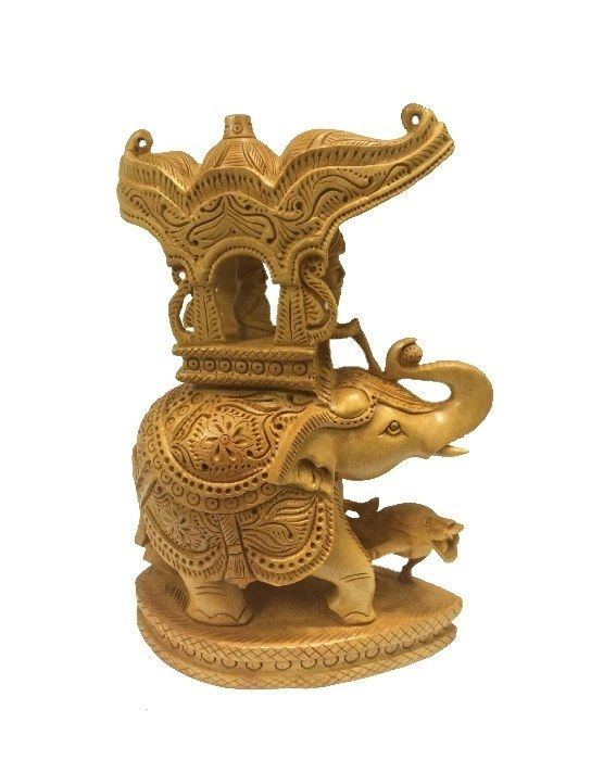 A beautiful wooden chariot pulled by a carved elephant will fit perfectly in your living room