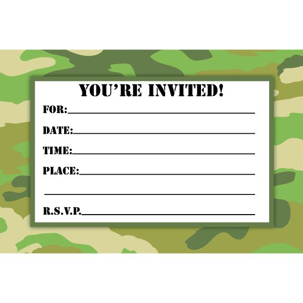 Camouflage birthday invitations printable free download for Camouflage party invitation template