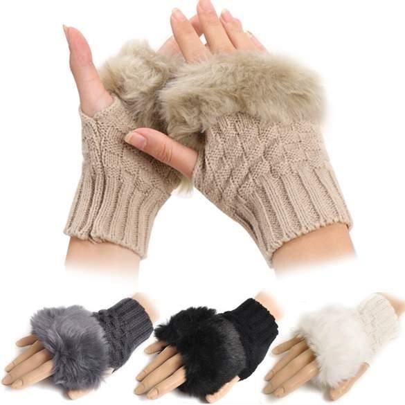 GANT - MITAINE Gants d'hiver femme Finejo faux lapin fur mitaines-tricot poignet fourrure tricoté