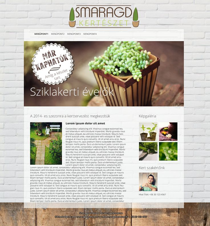 Kertészet weboldal látványterv