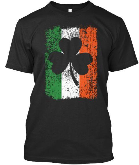 Irish Flag And Shamrock Black T-Shirt Front