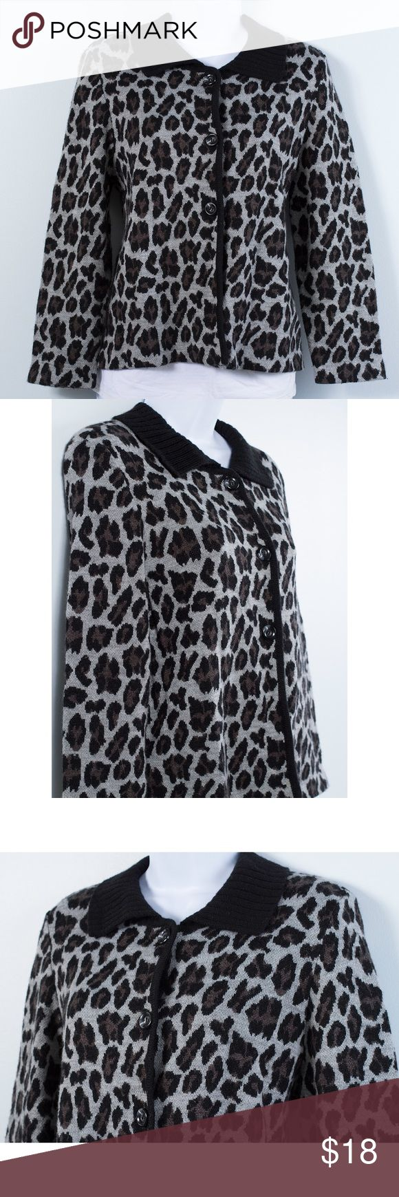 Rafaella Button Front Sweater Perfect weight sweater for fall.Great addition to any wardrobe.Animal print sweater with three button front closure.Excellent condition.Women's size medium. Rafaella Sweaters