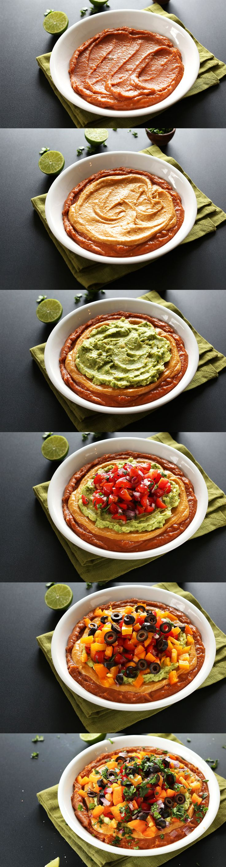 AMAZING 7 Layer Vegan Mexican Dip! Simple ingredients, and so healthy and satisfying | #vegan #glutenfree