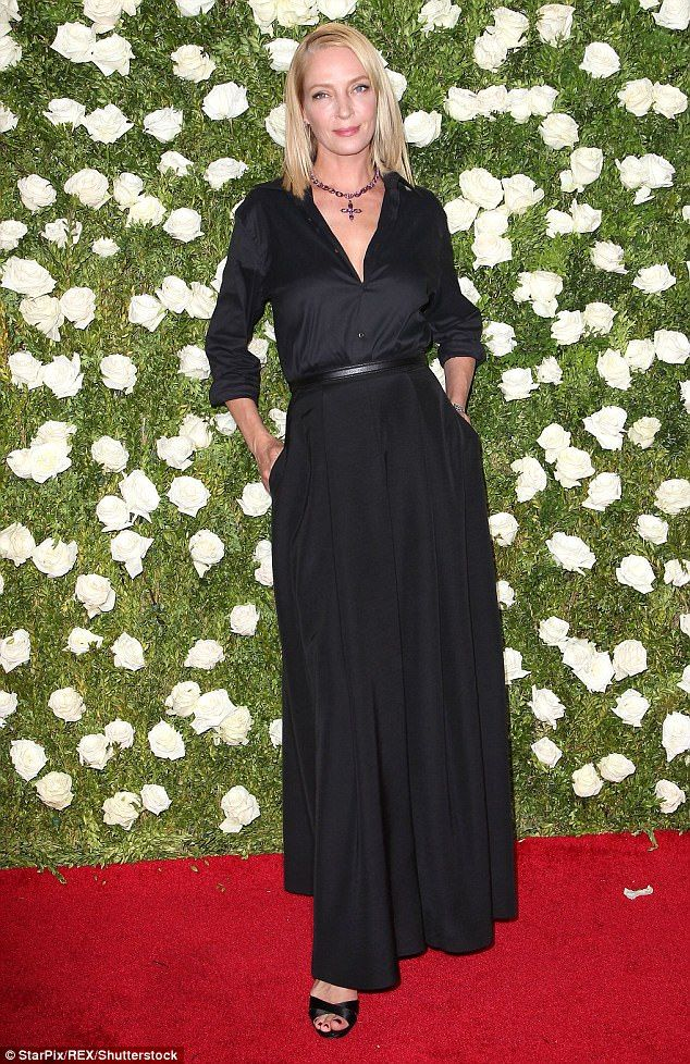 Stunner: Uma Thurman, 47, dazzled in a sophisticated gown for the Tony Awards in New York ...