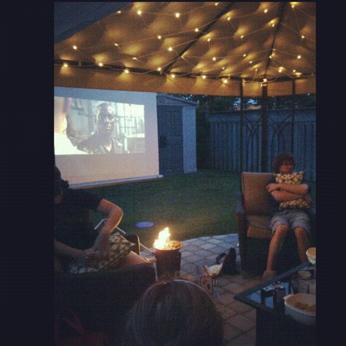 birthday party in the summer! outdoor movie, bonfire, s'mores, Chinese food!