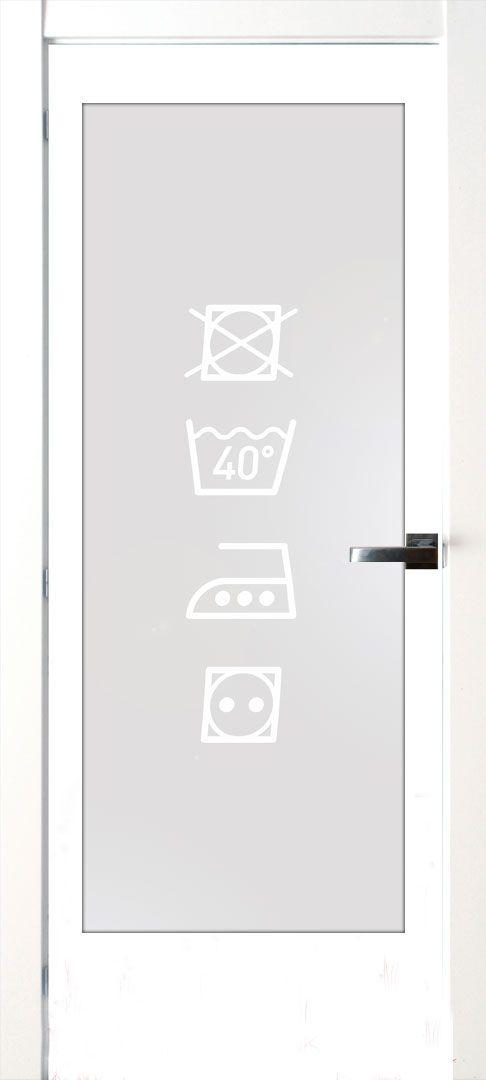 Vinilo para cristales pensado para la puerta de salida al lavadero. Queda genial!! #lovevinilos