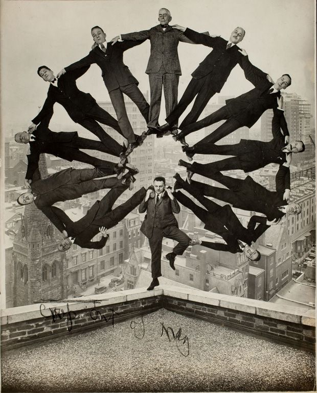 Before Photoshop.  Man on Rooftop with Eleven Men in Formation on His Shoulders (Unidentified American artist, ca. 1930)    Image courtesy: The Metropolitan Museum of Art