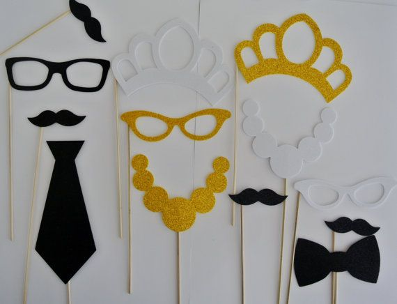 Photo Booth Party Prop 41 PC Crowns Tiara Top Hat Lips by PICWRAP