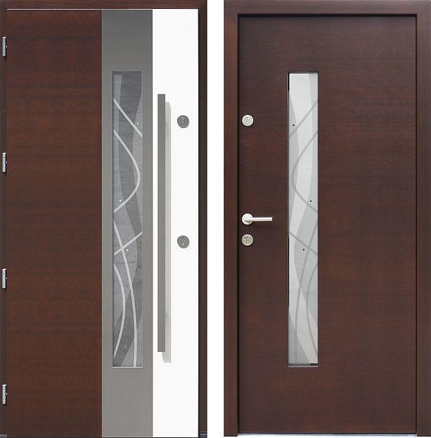 Drzwi wejściowe z aplikacjamii ze stali nierdzewnej inox wzór 454,6-454,16+ds4 ciemny orzech + białe