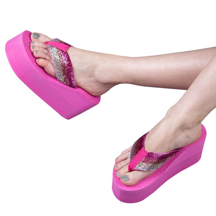 Women Casual Sandals Bright Flip Flops Wedges Platform Ultra High Heels  Women Beach Sandals Flip Flops