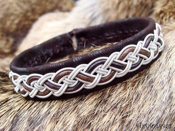 Sami Bracelet NIFLHEIM Lapland Viking Bracelet in Dark Brown Lambskin with Tin Thread braid and Antler button - Natural Handcrafted Elegance by Tjekijas Design.