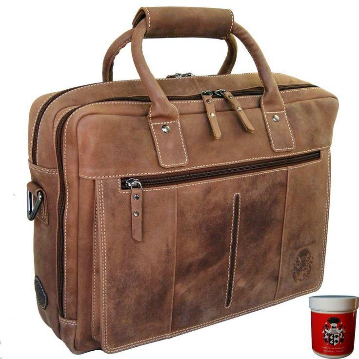 Mit der #Herren #Laptoptasche CHAPLIN aus braunem Eco #Leder transportieren Sie Ihre Geräte sicher und stilbewusst!