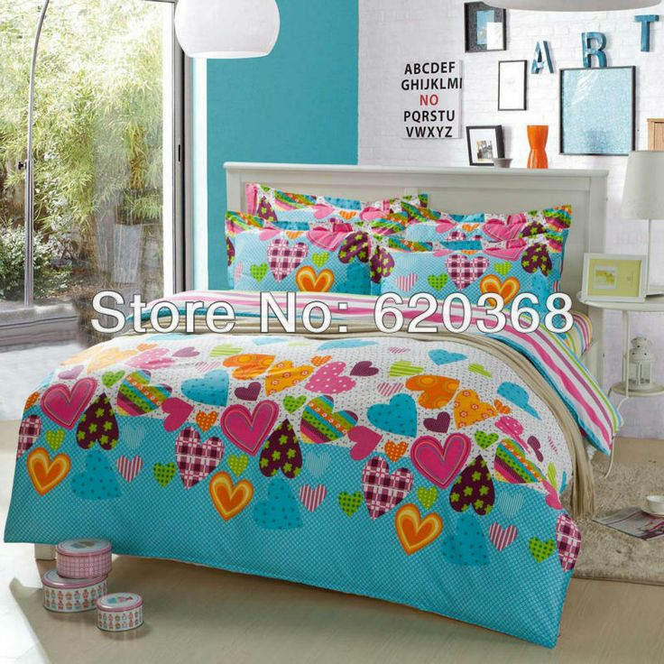 Lt Full/queen Size Cotton Blue Orange Green White Love Heart Red Colorful  Floral Prints Duvet Cover Set/bed Linens/bed Sheet Sets/bedclothes/bedding  ...