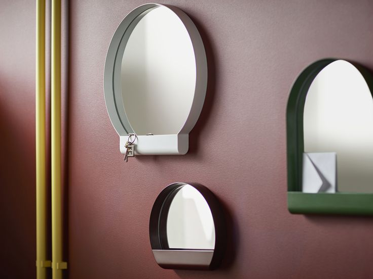 Best Designed in different sizes and oval shapes IKEA YPPERLIG steel and glass mirrors e with shelf storage space to fit knick knacks along the wall