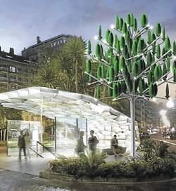 """New Wind_""""Arbre A Vent""""_8 mètres -tronc en acier-ses branches comportent 80 à 100 « feuilles »_2,5 à 3,5 kWh-25 réverbères ou un foyer de 4 personnes"""