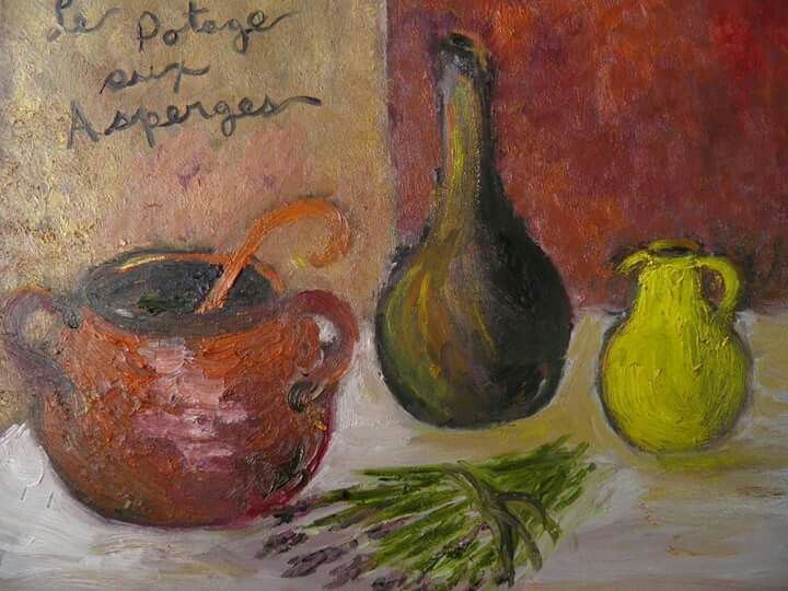 Colette Duhaime Le potage aux asperges..... Huile sur toile...