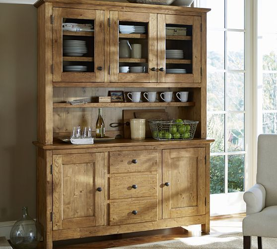 Benchwright buffet hutch vintage spruce finish our for Dining room hutch