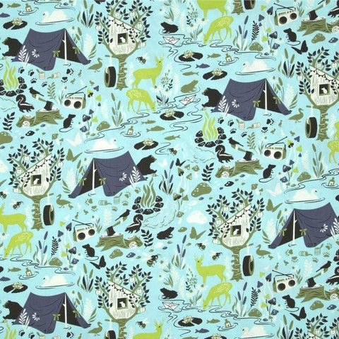 Tula Pink - Moon Shine - Forest Frivolity in Sky by Bobbie Lou's Fabric Factory (tent, camping, deer, bear, tree house)