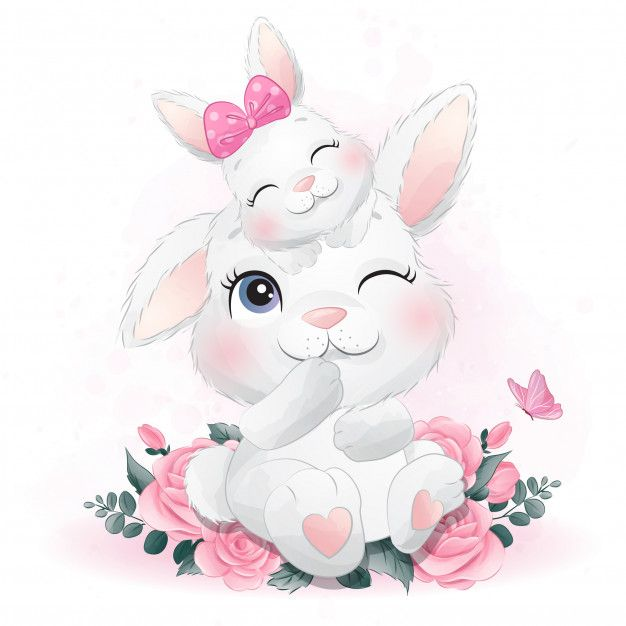 Cute Little Bunny Mother And Baby Baby Animal Drawings Cute Art Cute Animal Drawings