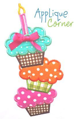 Cupcakes Large Applique Design
