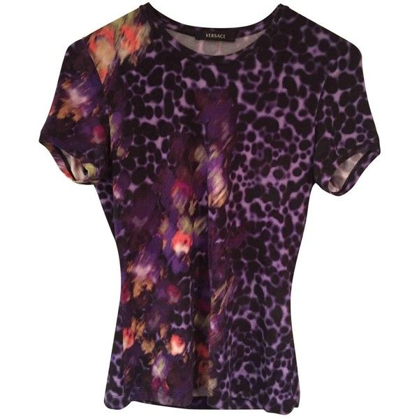 Pre-owned Versace Multicolour Cotton Top (10.425 RUB) ❤ liked on Polyvore featuring tops, multicolour, versace, colorful tops, purple top, versace top and multi color tops