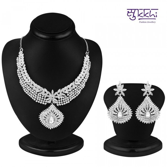 Marvellous Rhodium Plated AD Stone Necklace Set | High5Store.com