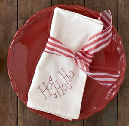 Ho Ho Ho Napkin.  All of the ones at this site are super simple and cute.....with patterns.