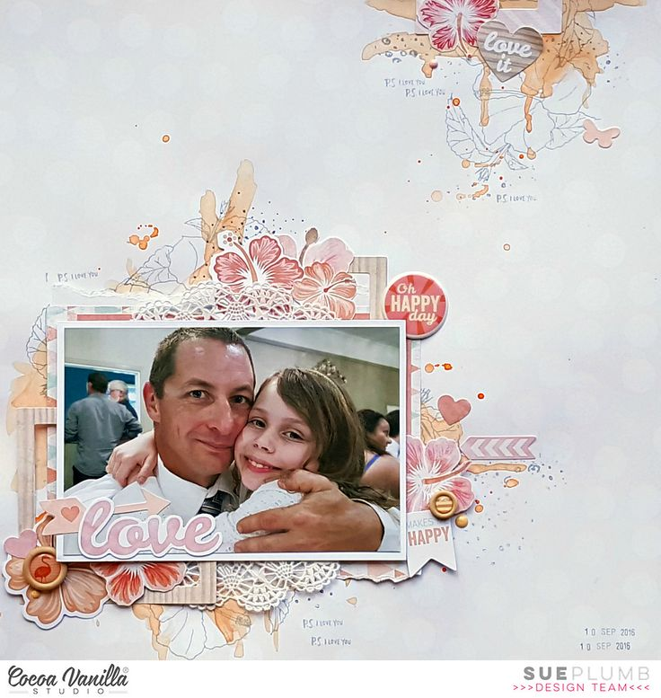 Hi everyone! Sue Plumb here with you today to share another Endless Summer layout with you all. This time I wanted to tackle the collection without scrapping anything with a summer or beach theme. Instead, I chose a photo of my daughter and my partner together that was taken recently at a