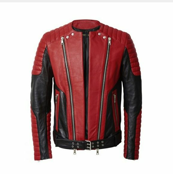 Balmain Leather Jacket BALMAIN H&M Limited Edition Leather Jacket. Perfect for a day on a bike or throw it on for a night out on the town.  Truly a one of a kind.    Color-block hot red with black; quilted zippered sections on shoulders and sleeves. Diagonal two-way  zippers, lined, 100% leather.   Size 36R Balmain Jackets & Coats