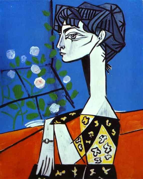 Pablo Picasso >> Jacqueline avec des fleurs