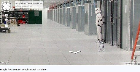 A street view tour published by Google also reveals a hidden surprise - A Stormtrooper standing guard over a sever in Google's North Carolina server farm