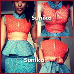 Blue and Orange Shweshwe Peplum Outfit