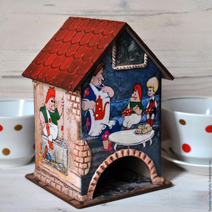 """Купить Чайный домик """"Малыш и Карлсон"""" - синий, чайный домик, чайный домик декупаж"""
