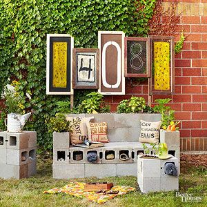 TV show host Michele Beschen shares her tips for building an outdoor seating of your own. By repurposing cinder blocks and other found items, you can create an entertainment zone on a small budget.
