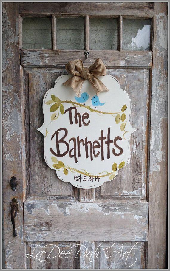 Welcome Sign Door Art Door Decor HandPainted Wreath by ladeedahart, $50.00
