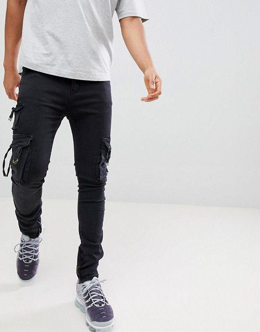 d74a6874e8ec6d Profound Aesthetic d-ring skinny fit cargo jeans in black | asos men ...