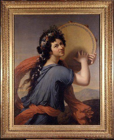 Ruhtinatar Helena Petrovna Menshikova [muusa Terpsikhoren hahmossa], (1771-1837), 1794, by François-Xavier Fabre. Suomen kansallismuseo, H26069:264. (Naisen puolivartalokuva, vartalo oikealle sivuttain kääntynyt, kasvot kohti katsojaa. Kädet nostettu ylös, pitelevät tamburiinia joka on mallin takana kasvojen kohdalla. Tummat silmät, tummat kiharat hiukset, kukkaseppele. Sininen puku, punainen huivi. Taustalla vuoristomaisema.)