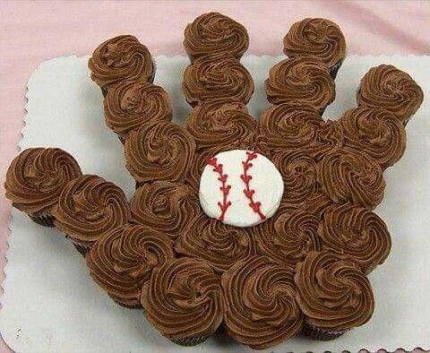 Baseball glove cupcake cake :)
