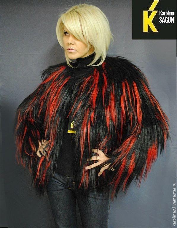 Купить Шуба-трансформер из яка черно-красная - натуральный мех, меховой жилет, абстрактный