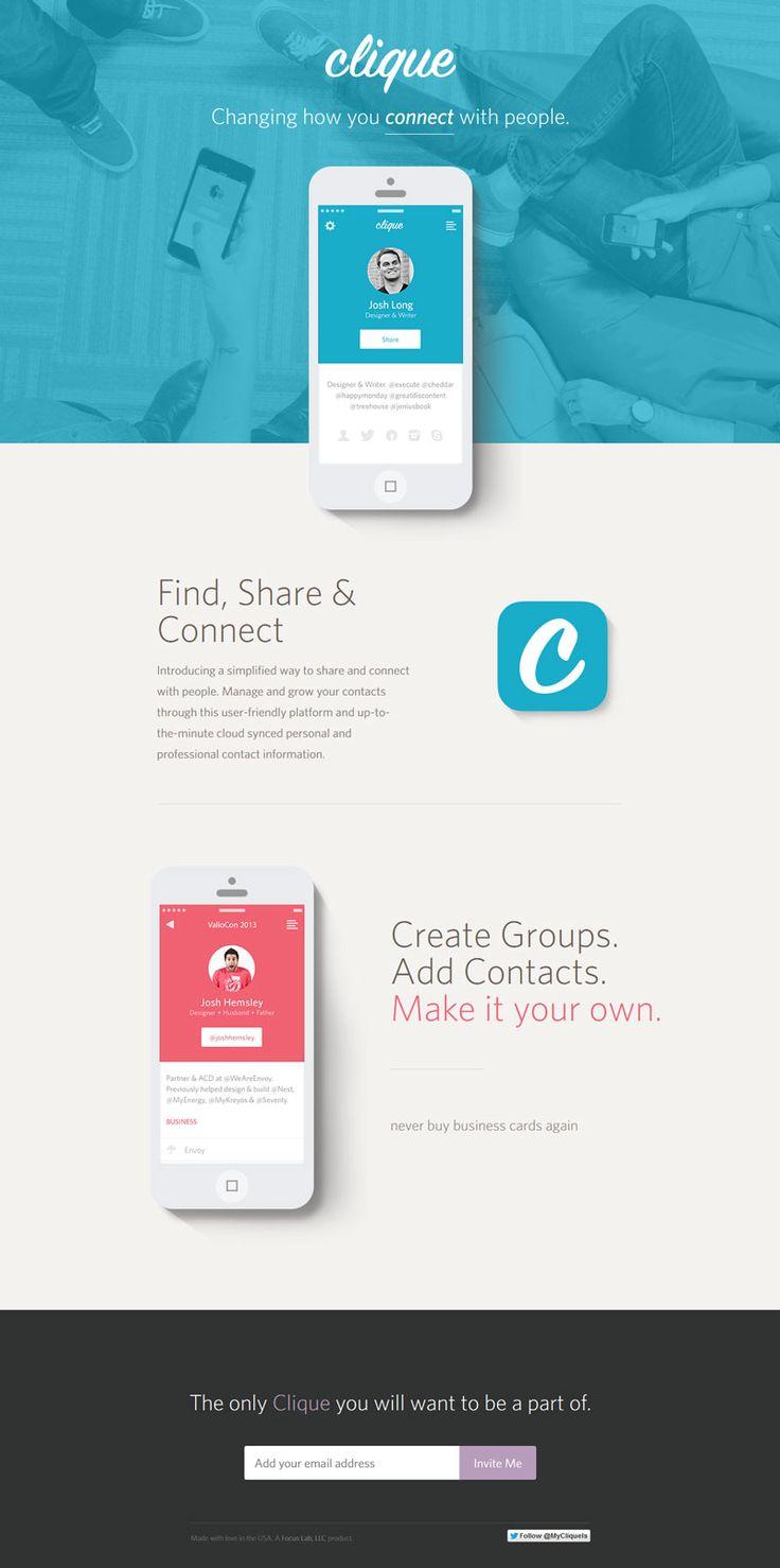 Clique - simple clean modern iphone app #webdesign