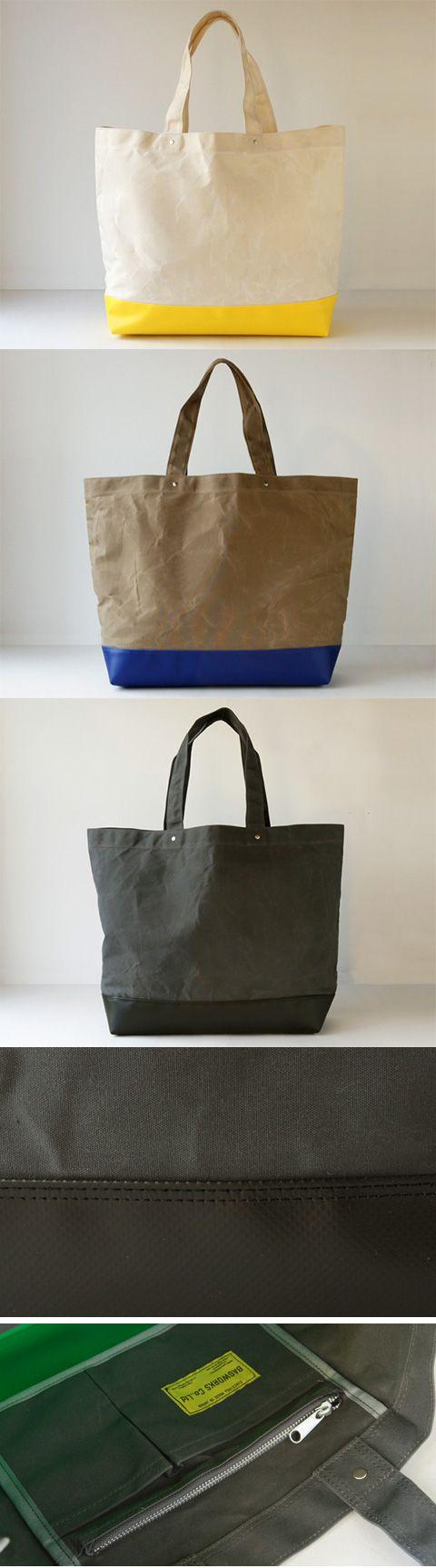 【BAGWORKS DEPARTMENTMAN L(中川政七商店)】/デパートで使われている紙袋のサイズ感をもとにデザインしたトートバッグです。本体は厚地の綿をパラフィン加工で仕上げ、防水処理された素材を使用しています。底には厚めのターポリンを使い、長年使える丈夫さと汚れ対策を実現しました。内部にはファスナー付ポケットと携帯とお財布が入る仕切りポケットが付いています。綿パラフィン加工の素材は、その特性上、生地表面に折れシワ・白化がでます。 #bag #bagworks