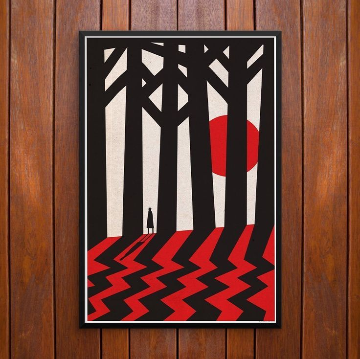 Twin Peaks, Fire Walk With Me, Poster or Framed Print. Twin Peaks' Daale Cooper looks for the Black Lodge. The style was Inspired by polish poster designer Witold Janowski. Dale Cooper in the Black Lodge with trees casting chevron pattern and hidden black lodge symbol used by David Lynch in the Twin Peaks TV series and Fire Walk with Me movie.