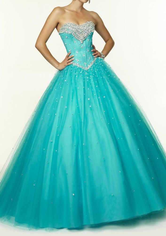 Hot!! Quinceanera Beaded Formal Prom Party Ball Gown Wedding Dress Custom Size in Clothing, Shoes & Accessories | eBay