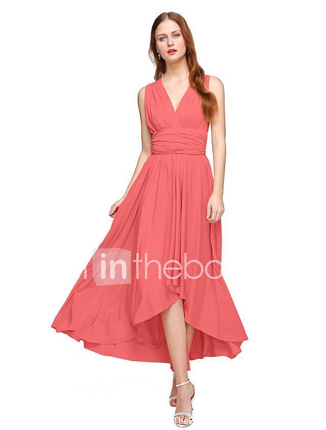 Lanting Bride® Asimétrica Jersey Vestido Convertible Vestido de Dama de Honor - Corte en A Cuello en V Talla Grande / Pequeña con 2017 - €87.29