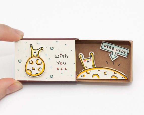 "Sweet Long Distance Love Card/ Missing you Card/ ""Wish you were here"" Matchbox/ Lonely Bunny/ Gift f"