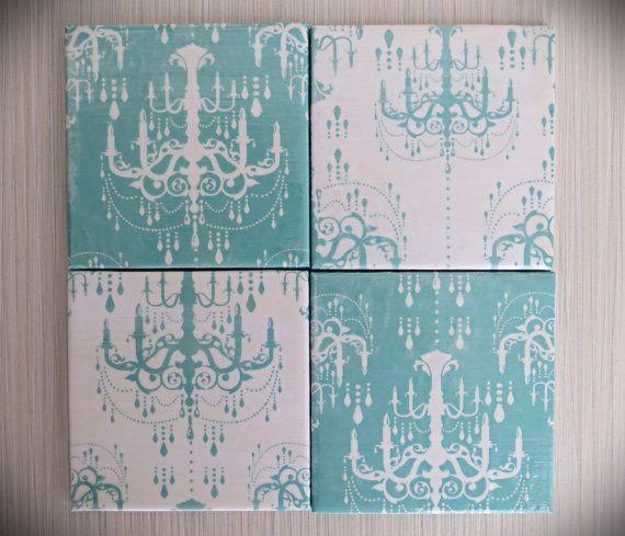 Turquoise Chandelier 4 Piece Ceramic Tile by LuShahrinCoasterLand, $16.00